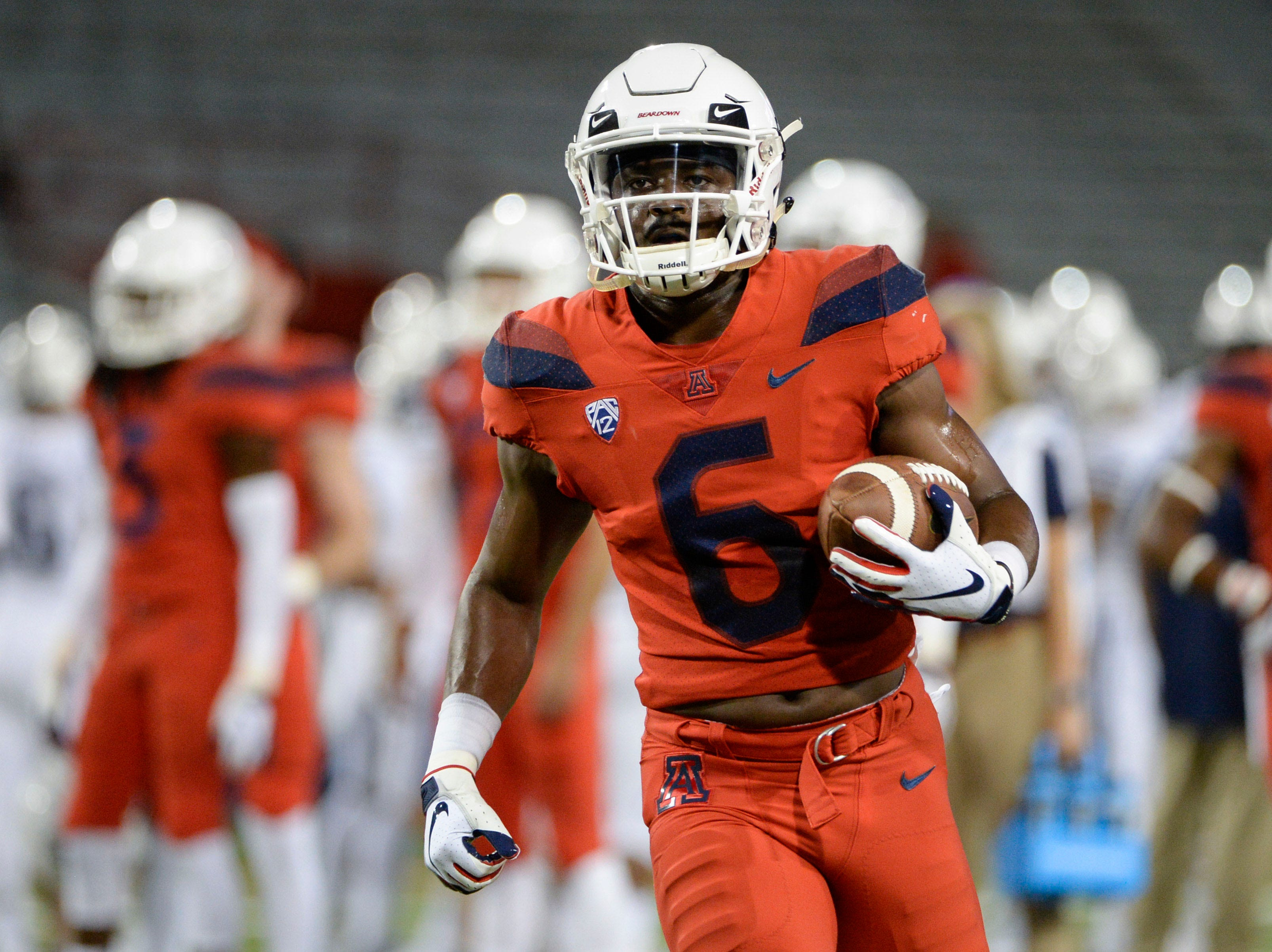 Sep 1, 2018; Tucson, AZ, USA; Arizona Wildcats wide receiver Shun Brown (6) warms up before playing the Brigham Young Cougars at Arizona Stadium.