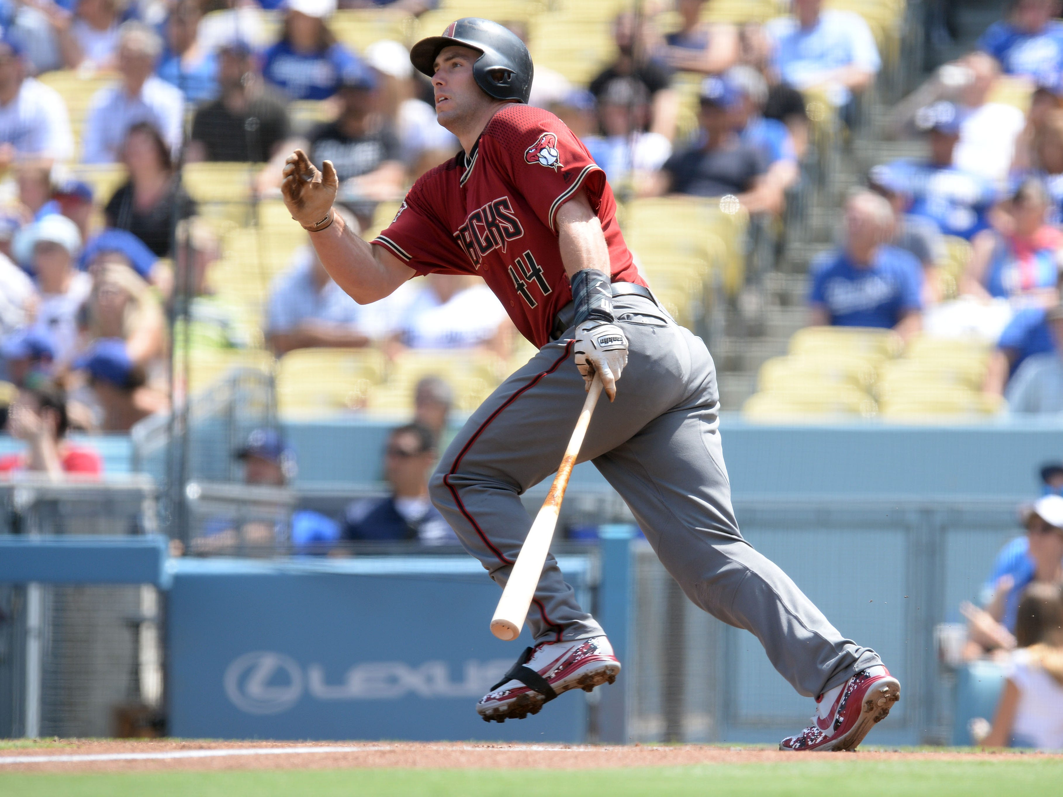 September 2, 2018; Los Angeles, CA, USA; Arizona Diamondbacks first baseman Paul Goldschmidt (44) hits a single against the Los Angeles Dodgers in the first inning at Dodger Stadium. Mandatory Credit: Gary A. Vasquez-USA TODAY Sports
