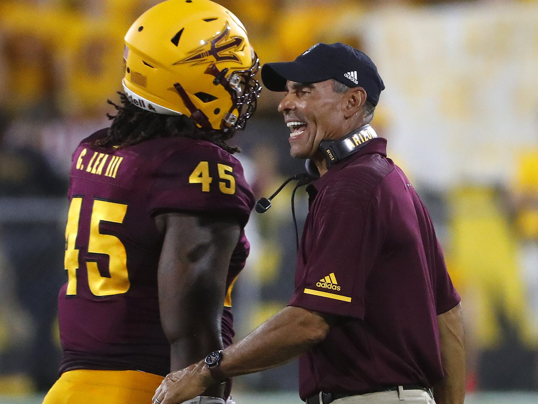 Arizona State Sun Devils head coach Herm Edwards yells to players after a targeting flag against Arizona State Sun Devils safety Jalen Harvey (43) during the first half at Sun Devil Stadium in Tempe, Ariz. on Sept. 1, 2018.