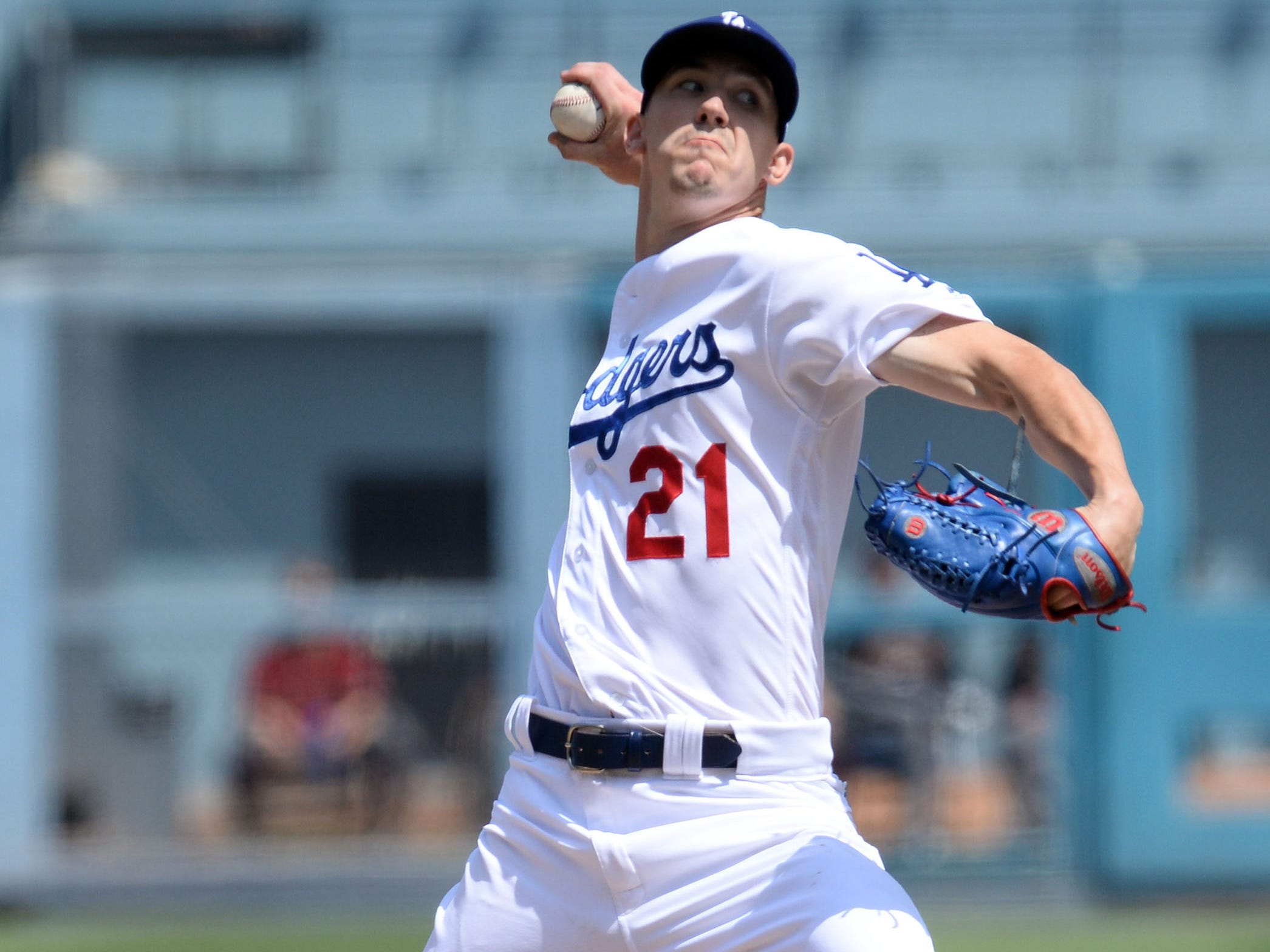 September 2, 2018; Los Angeles, CA, USA; Los Angeles Dodgers starting pitcher Walker Buehler (21) throws against the Arizona Diamondbacks in the second inning at Dodger Stadium. Mandatory Credit: Gary A. Vasquez-USA TODAY Sports