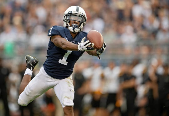 Penn State wide receiver KJ Hamler makes a catch against Appalachian State during an NCAA college football game Saturday, Sept. 1, 2018, in State College, Pa. (Abby Drey/Centre Daily Times via AP)
