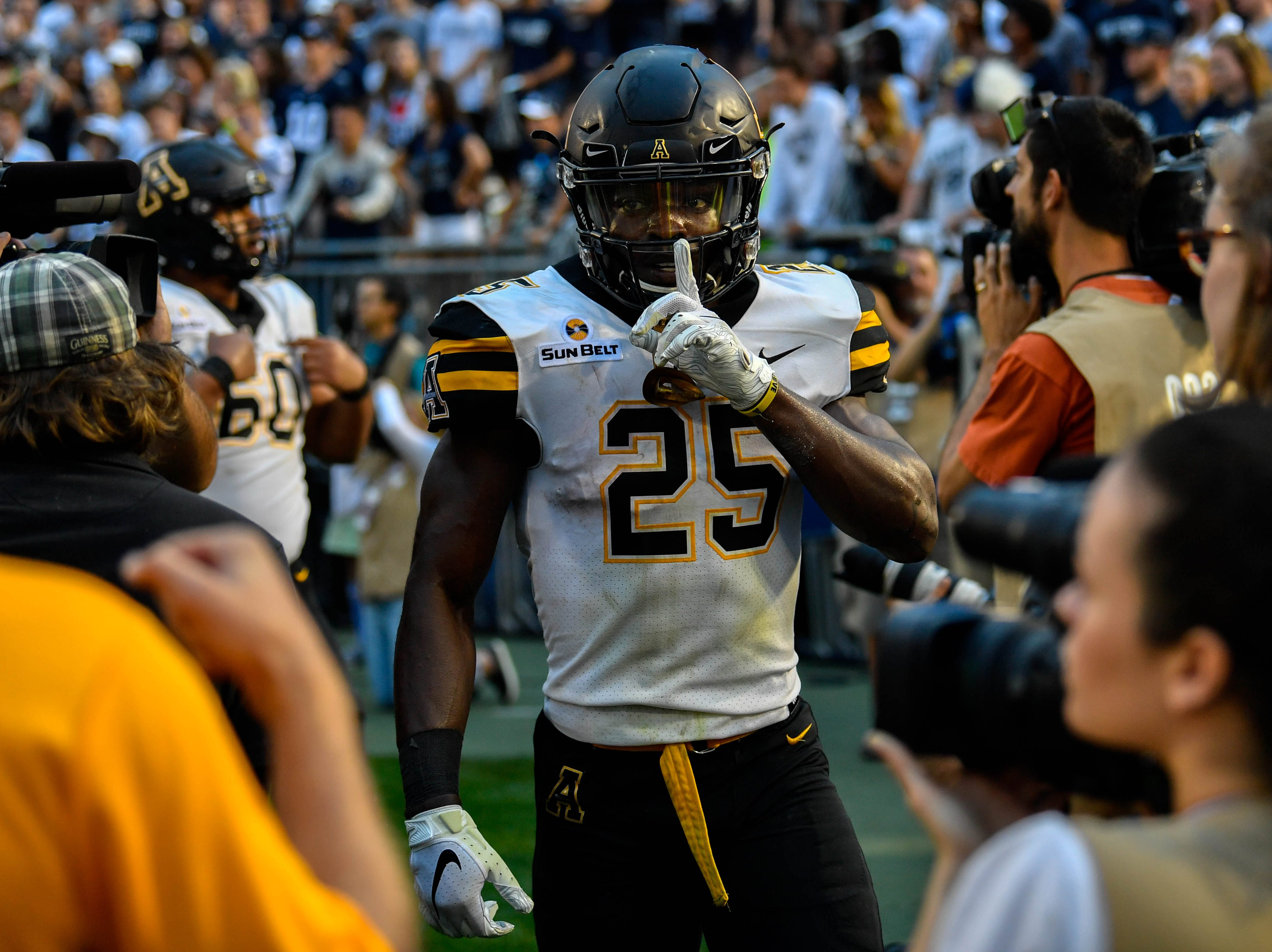 Jalin Moore silences the crowd after scoring a touchdown, and giving Appalachian State the lead on September 1, 2018.