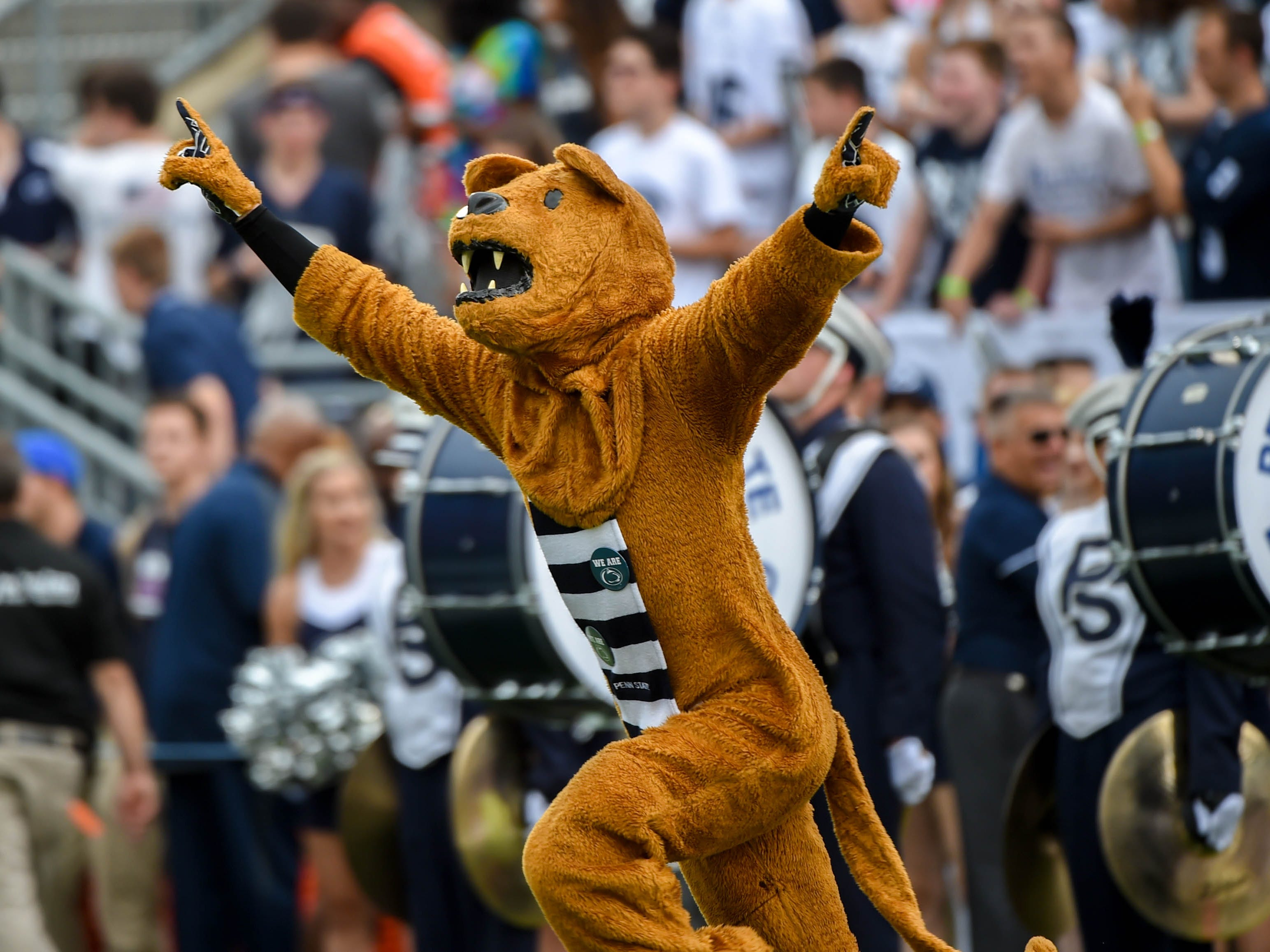 The Nittany Lion charges onto the field before the Penn State home opener on September 1.