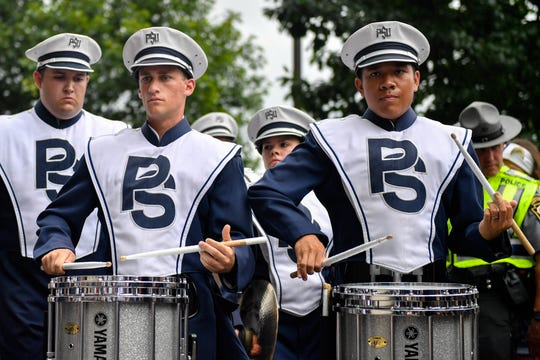 The Blue Band marches into Beaver Stadium at Penn State's home opener on September 1, 2018.