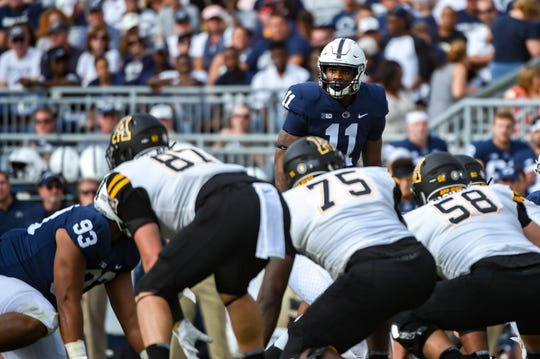 Micah Parson (11) looks down the line during the Penn State opener against Appalachian State at Beaver Stadium on September 1, 2018.