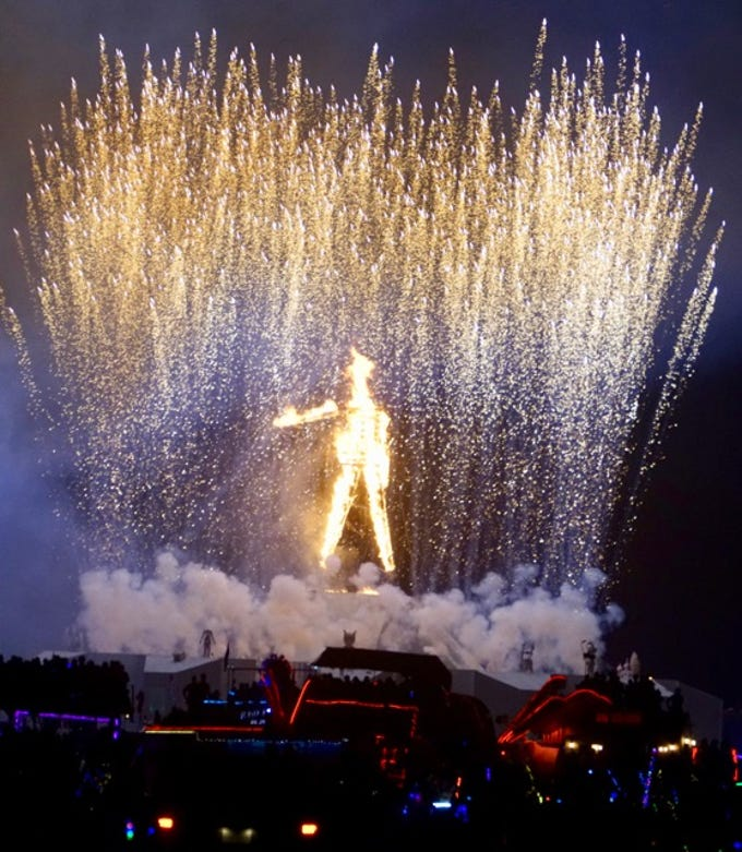 The Man for which Burning Man is named goes up in flames in the spectacular final night of the weeklong festival in the Nevada desert on Saturday, Sept. 1, 2018.