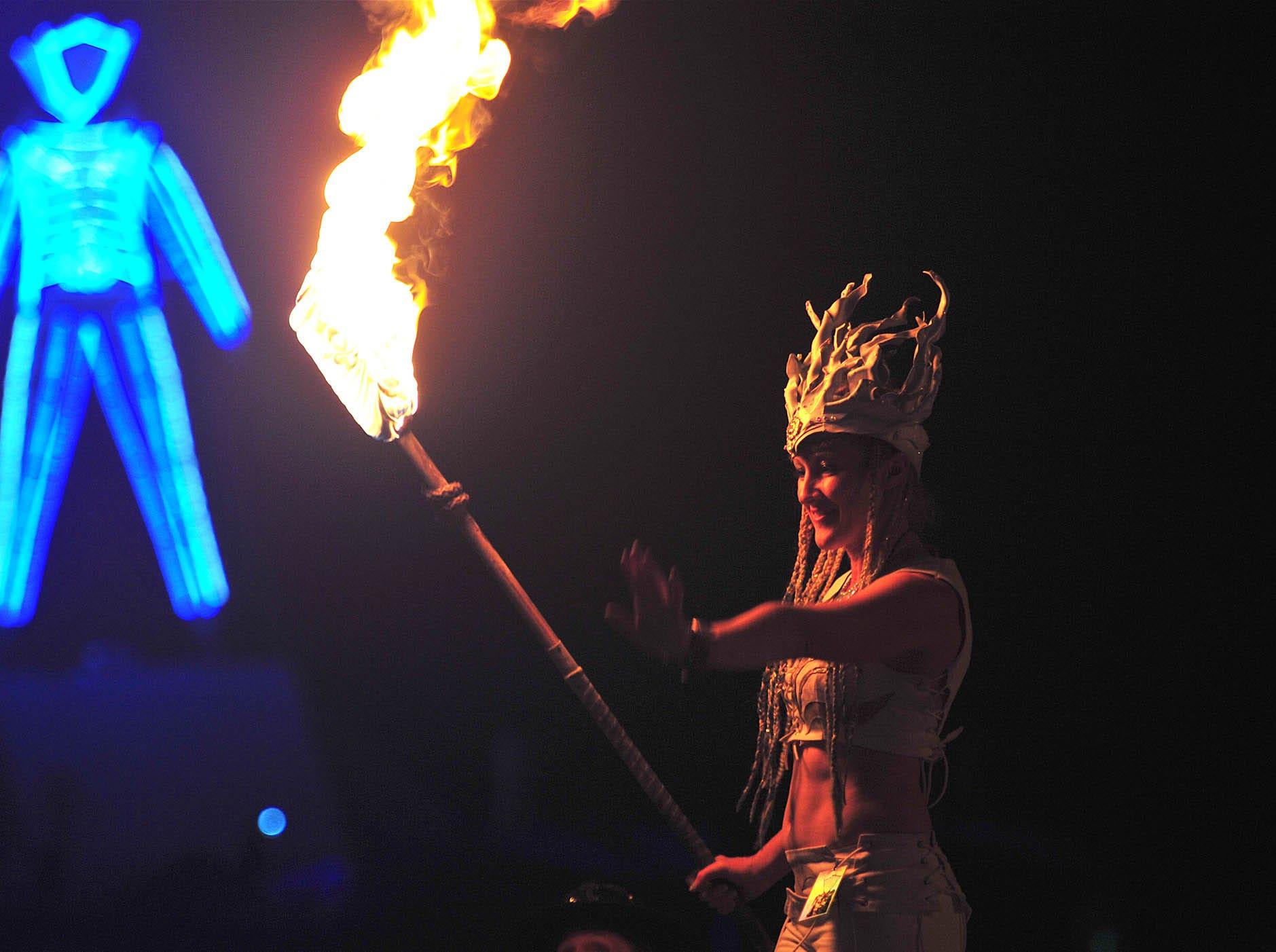 The man burns: A photo from Saturday, Sept. 1, 2018 at Burning Man.