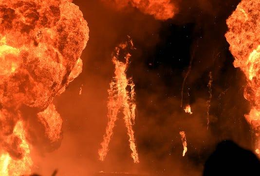 The Man burns at Burning Man 2018