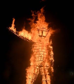 The man burns on the playa on Sept. 1, 2018
