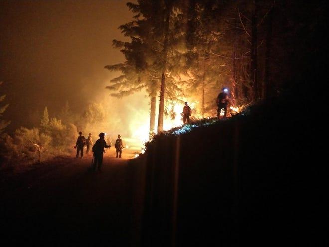 Night operations on the Klondike Fire.