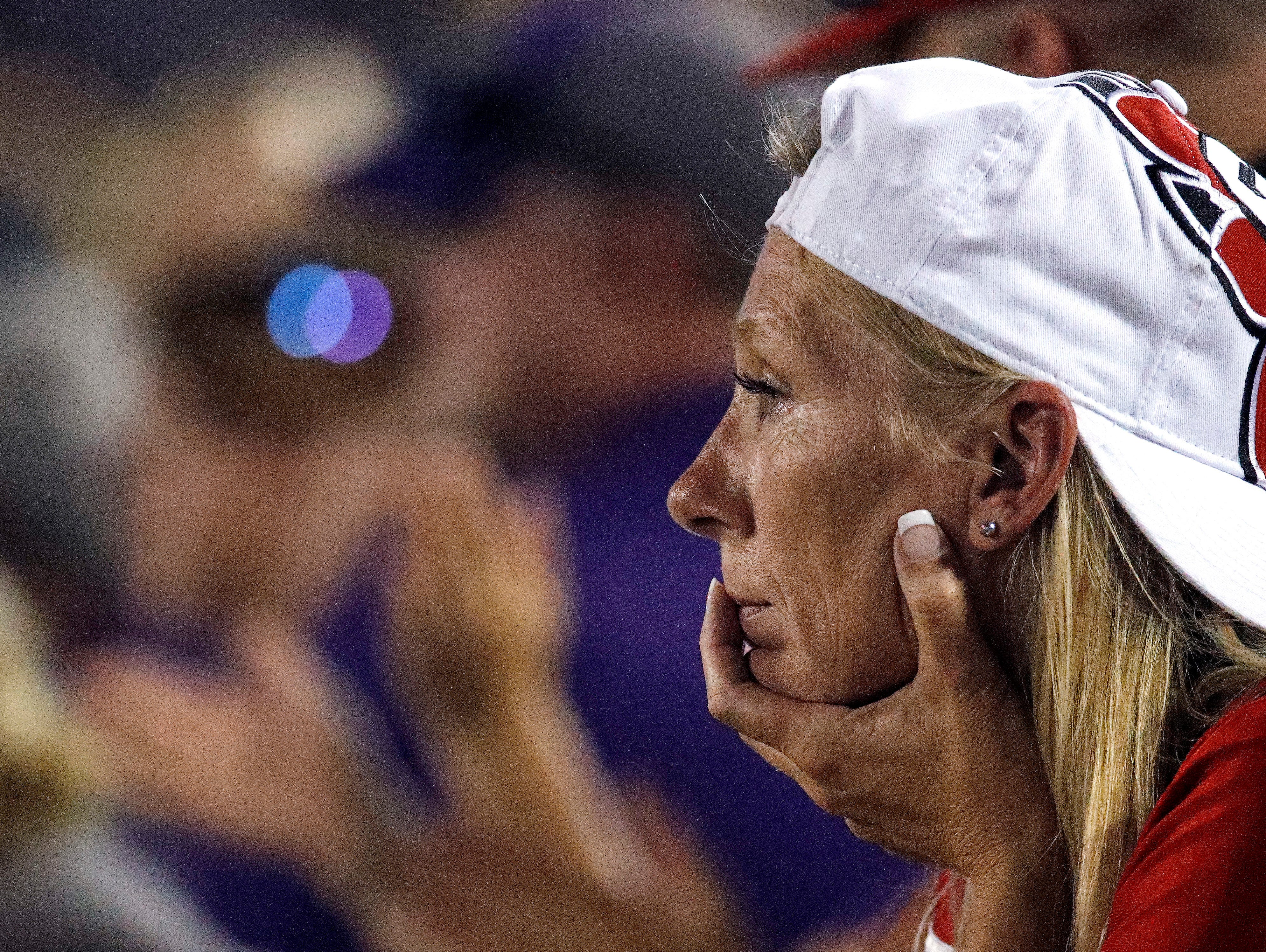 A South Dakota fan watches during the second half of an NCAA college football game against Kansas State Saturday, Sept. 1, 2018, in Manhattan, Kan. Kansas State won 27-24. (AP Photo/Charlie Riedel)