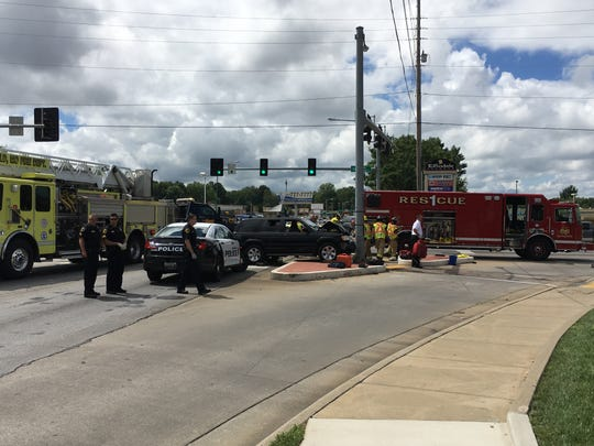 Police say an SUV crashed into a pedestrian Sunday afternoon at Sunshine Street and Fort Avenue.