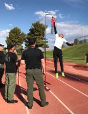 Potential officers go through a physical agility test as part of the hiring process for Mesquite Police Department.