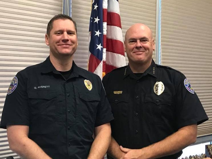 Mesquite police Chief Troy Tanner (right) is pictured with Sgt. Quinn Averett, the department's policy and public information officer. On June 26, 2018, the department announced Averett's promotion to rank of sergeant. As part of his new duties, Averett will be working with the school resource officer to build the Virgin Valley High School Police Explorer program.