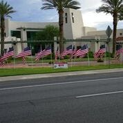 Flags are posted on Sept.  11 in front of Mesquite City Hall.