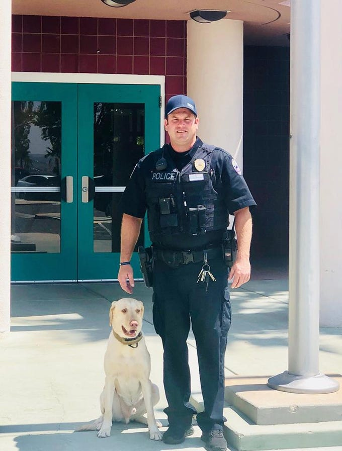 On Aug. 13, 2018, Mesquite's police department announced K-9 Officer Justin Goodsell is returning to Virgin Valley High School as the department's full-time school officer.