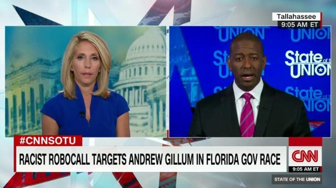 A screenshot of Andrew Gillum on CNN's State of the Union.