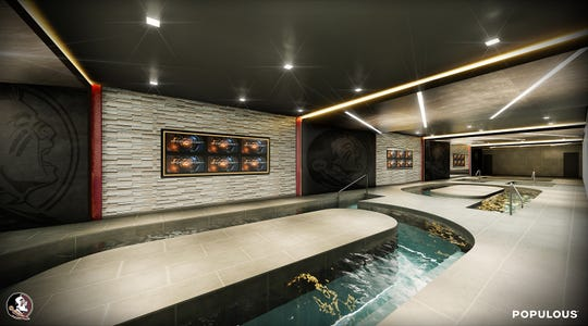 A hydrotherapy room inside FSU's future stand-alone football facility announced Sunday night.