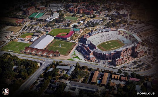 An arial view of what FSU will look like after the completion of its stand-alone football facility.