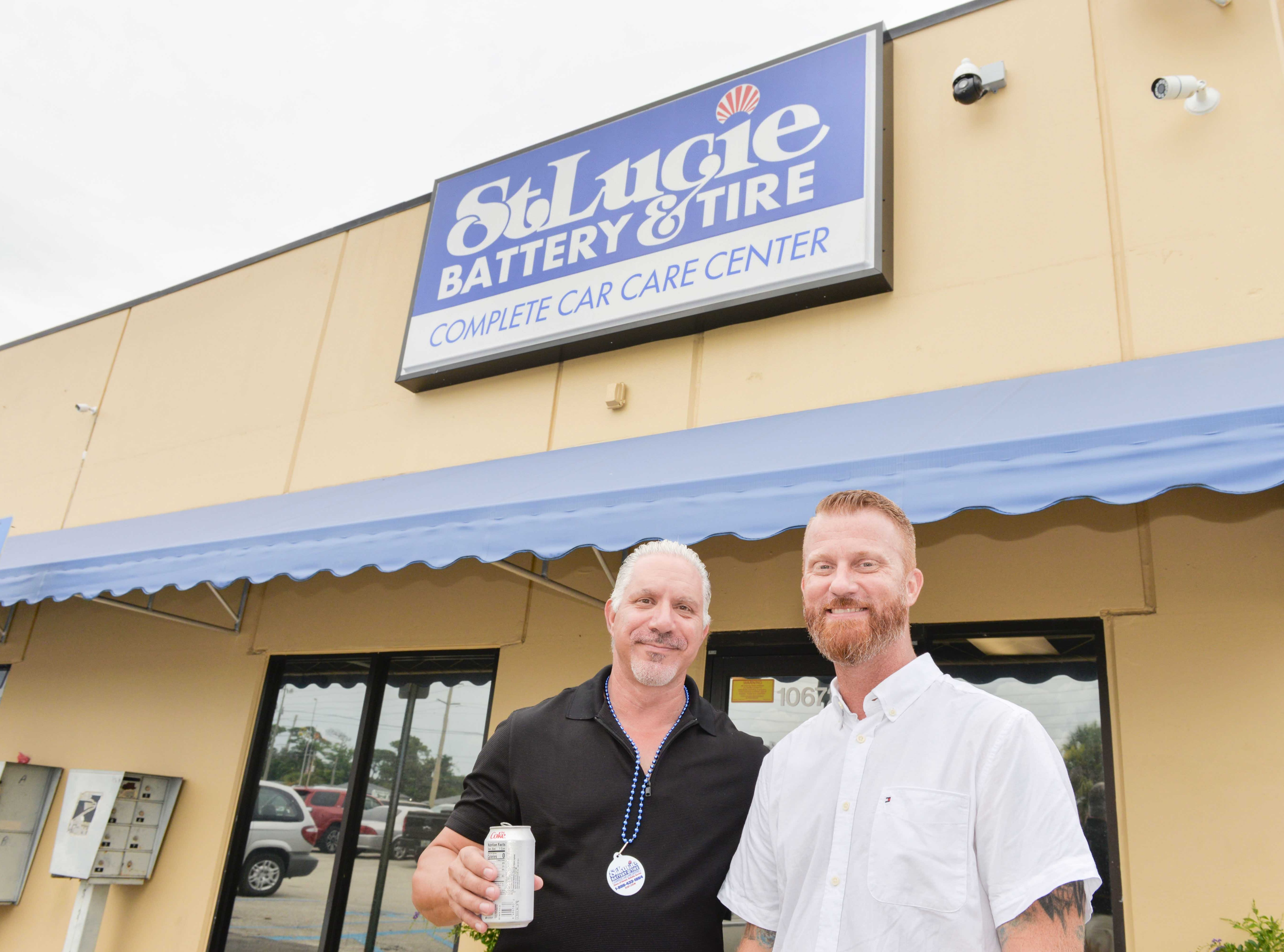 Eric Finkel, left, of MyTreasureCoast.com, with Jeff Deans, general manager of St. Lucie Battery & Tire, at the Treasure Coast Builders Association's Fun After Five networking event.