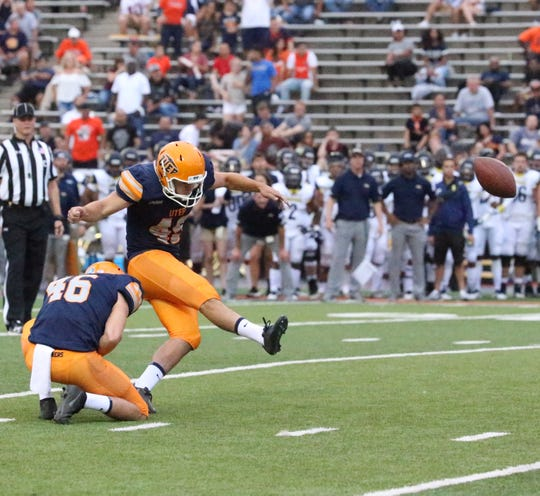 UTEP kicker Jason Filley, formerly of Coronado High School kicks a field goal to bring UTEP to within a touchdown of Northern Arizona at the end of the first half Saturday.