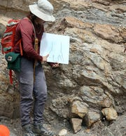 Georgina Rodriguez-Gonzalez, a UTEP graduate student in Geological Sciences points out a dinosaur track on the face of a rock formation during a DinoTracks Tour Sunday. Gonzalez drew the track on a board to help the group of 25 people better see it during the 2.5-hour tour at Cerro de Cristo Rey adjacent to the dirt road leading to Mount Christo Rey in Sunland Park, N.M. Topics Gonzalez covered during the roughly 3-mile hiking tour included the natural and geologic history of the area, dinosaur and crockodilian trace fossils, plate tectonics and sedimentation. Some time was given for people to fossil hunt at the site of one of the tour stops. Several children were on the tour, including Alex Gray, who was celebrating his 7th birthday. The tour is organized on the first Sunday of each month by Insights Science Center and costs $15 per person. Visit insightselpaso.org for information.