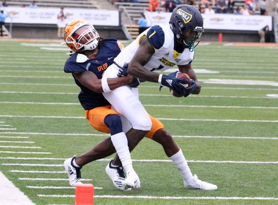 Northern Arizona wide receiver Emmanuel Butler is forced out of bounds just prior to the end zone Saturday.