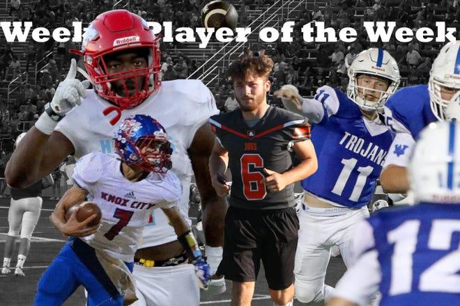 Week 1: Player of the week graphic of Hirschi's Daimarqua Foster, Windthorst's Hunter Wolf, Knox City's Abraham Nevarez and Burkburnett's Mason Duke. Not pictured is Olney's Parker Mayers.