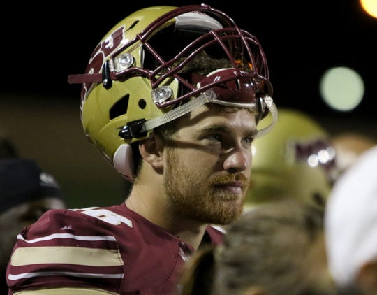 Midwestern State quarterback Layton Rabb watches from the sideline during the fourth quarter against Humboldt State Saturday, Sept. 1, 2018, at Memorial Stadium. The Mustangs defeated the Jacks 55-12 to open the season. Rabb set a program record with a 320.2 passing efficiency rating.