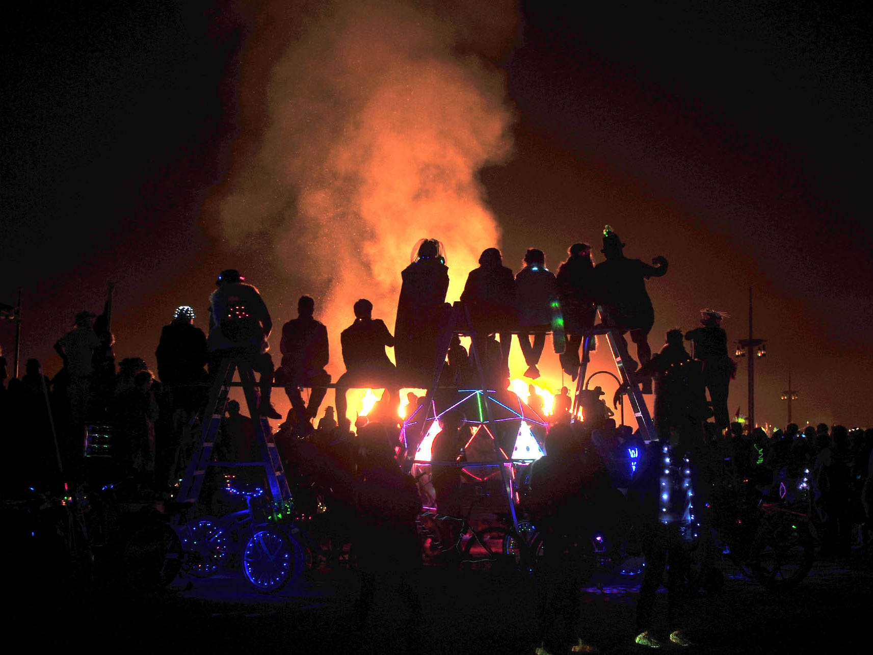 Thousands of people watched the Burning Man effigy burn Saturday night at Burning Man 2018.