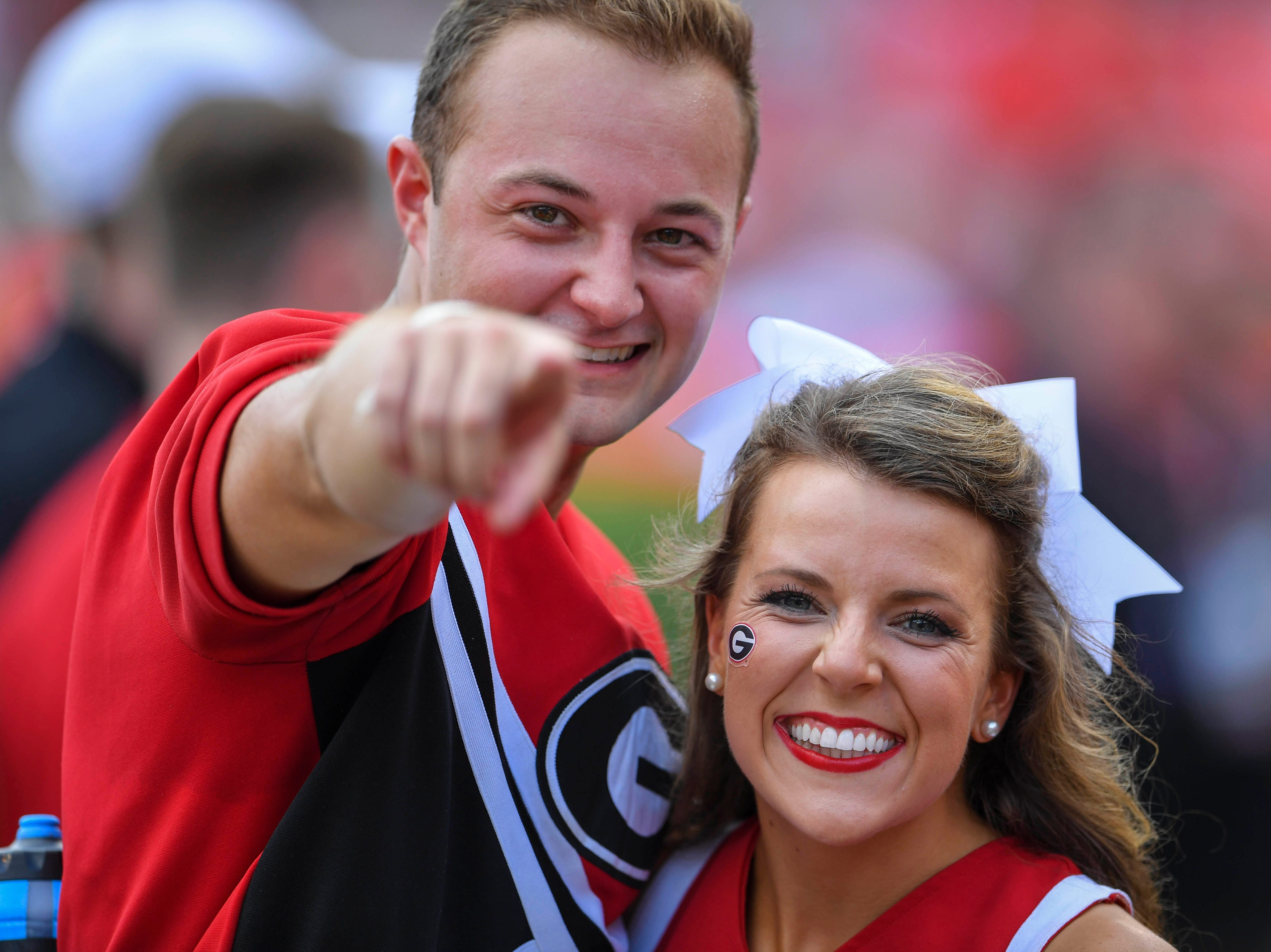 Week 1: Georgia Bulldogs cheerleaders pose prior to the game against the Austin Peay Governors at Sanford Stadium.
