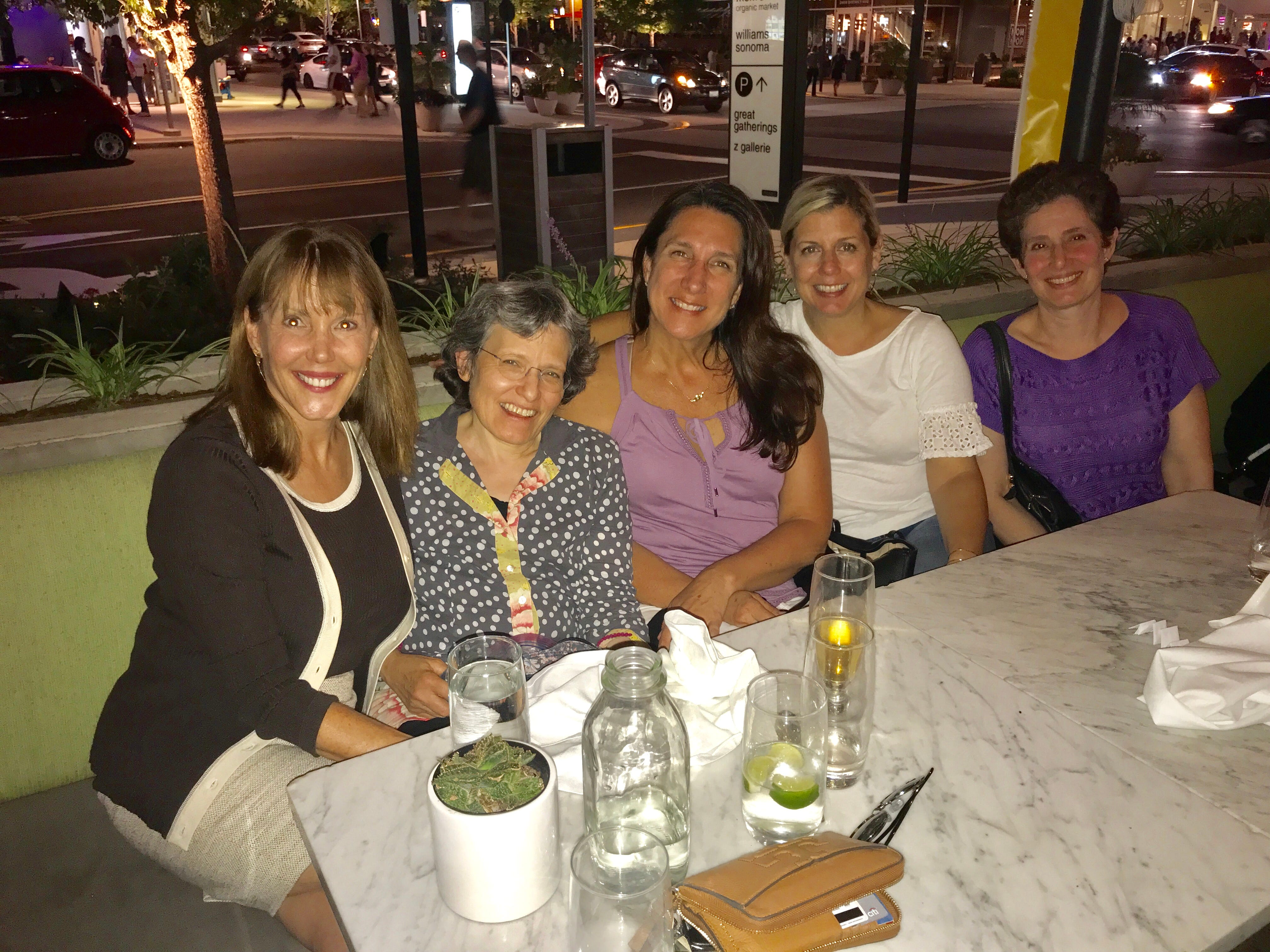 About 18 years after they first met, some of the members of this former support group of new moms reunited now that they are sending those babies to college. L to R, Jayne O'Donnell, Donna Blum-Kemelor, Mandy Parmer, Tricia Hindermann and Debbie Stone.