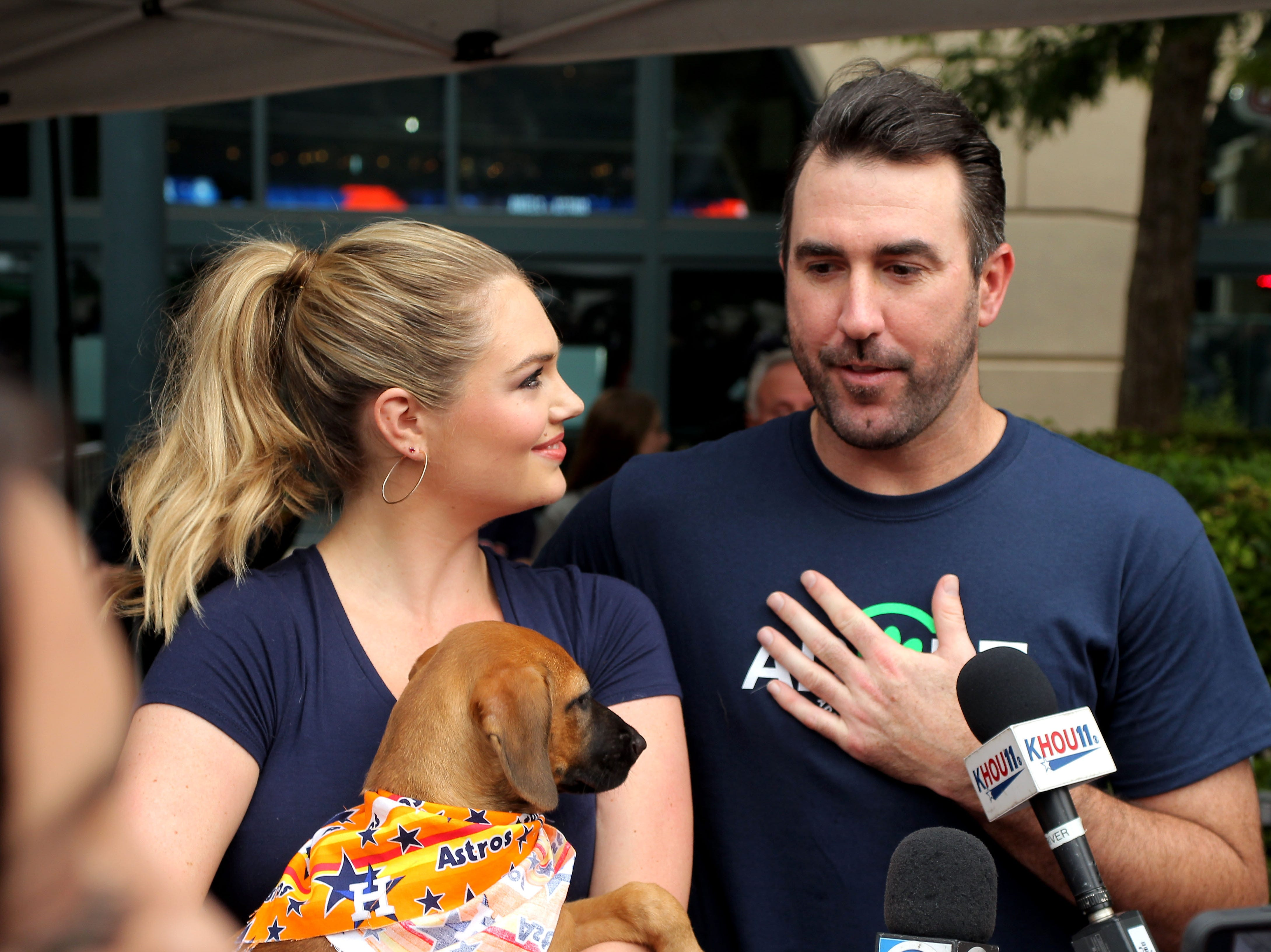 Houston Astros starting pitcher Justin Verlander and wife Kate Upton answer questions from the media during the Astros' Dog Day event.