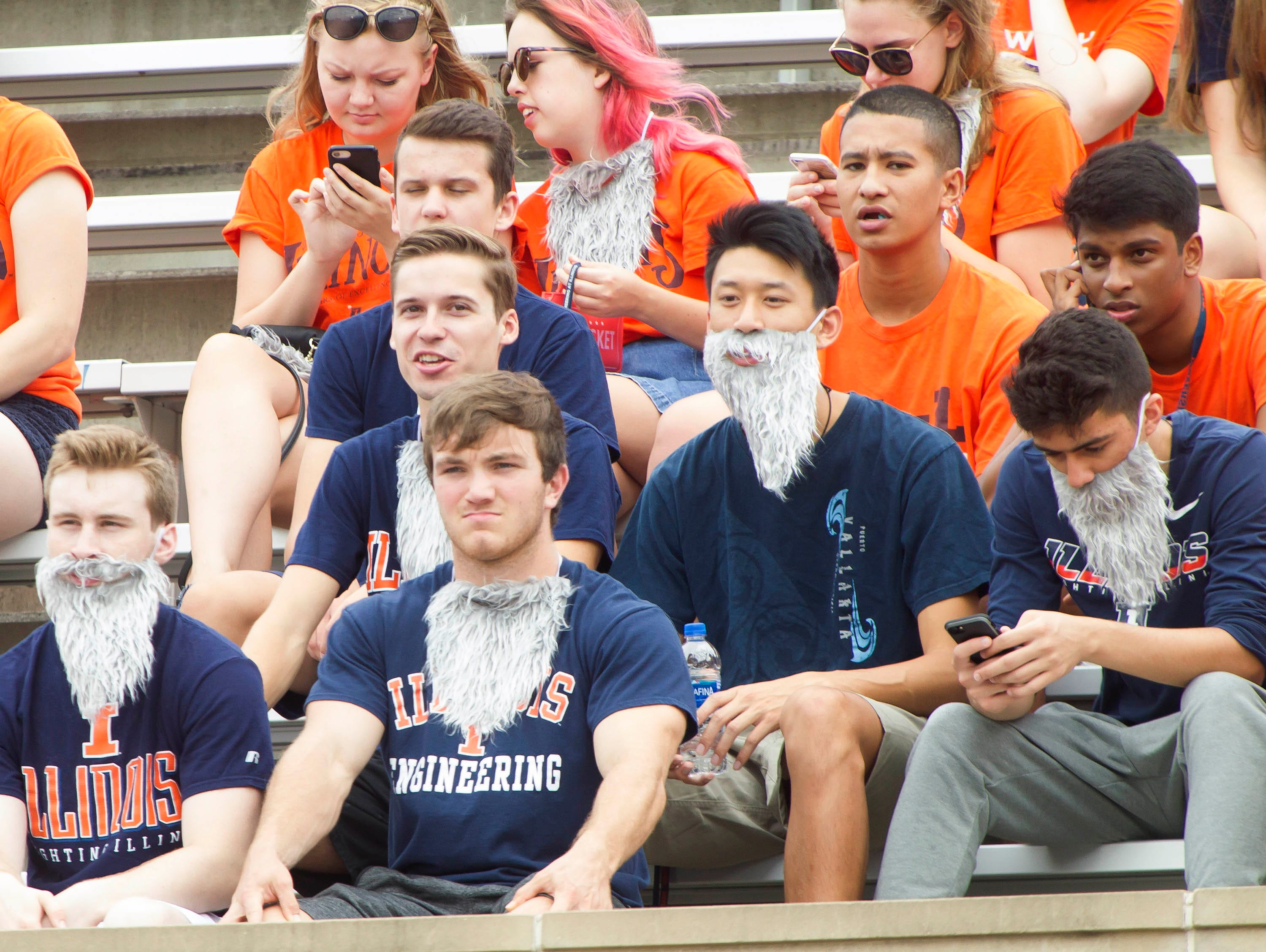 Week 1: Illinois fans wear fake beards in honor of head coach Lovie Smith.