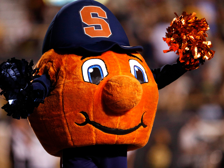 Week 1: Syracuse Orange mascot Otto the Orange celebrates during the third quarter against the Western Michigan Broncos at Waldo Stadium.