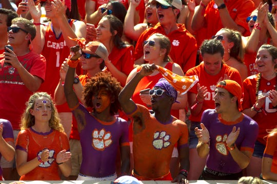 Week 1: Clemson Tigers fans react during the first quarter against the Furman Paladins at Clemson Memorial Stadium.