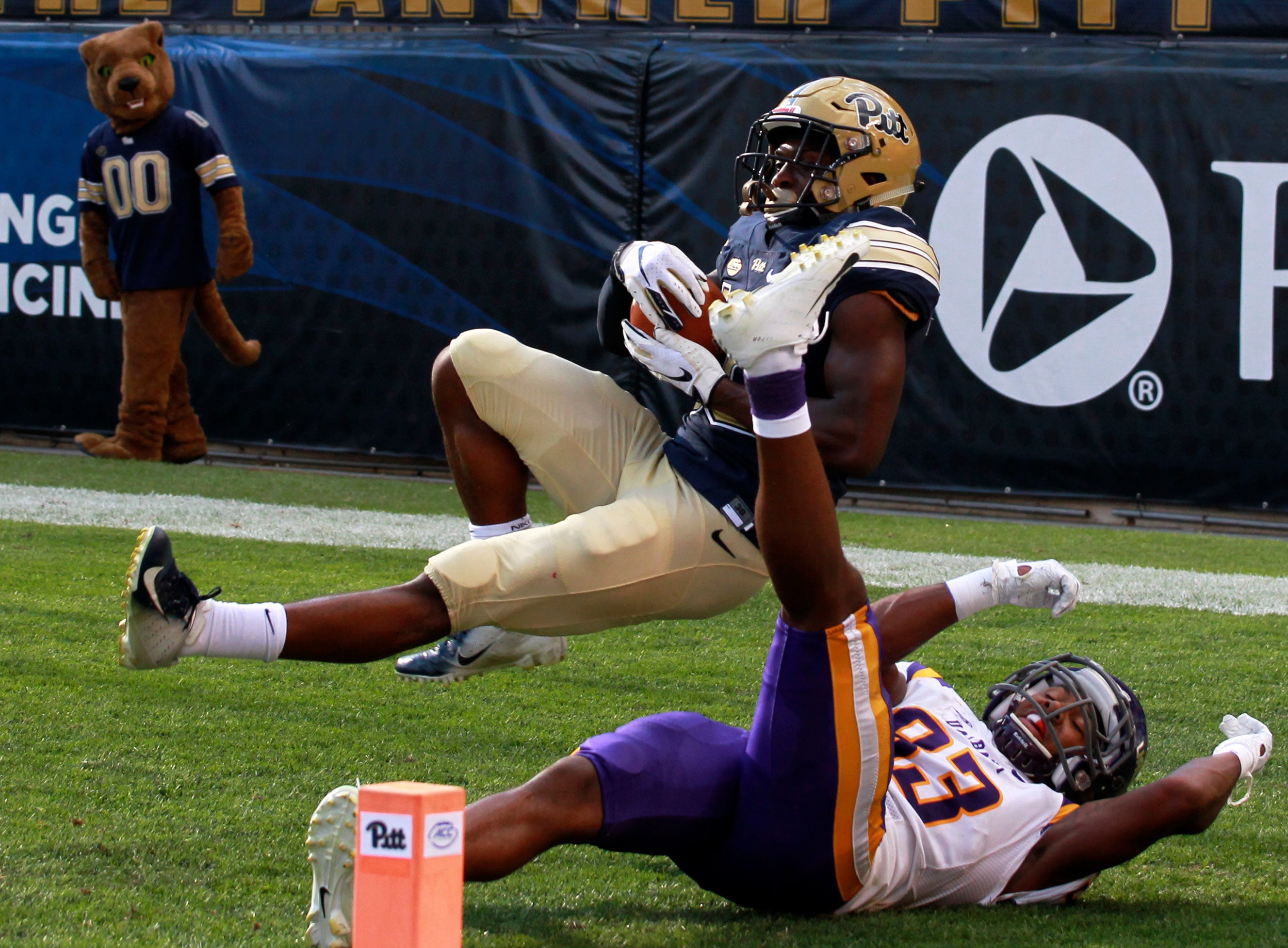Pittsburgh Panthers defensive back Damarri Mathis (16) intercepts a pass in the end zone intended for Albany Great Danes wide receiver Donovan McDonald (83) during the third quarter at Heinz Field.