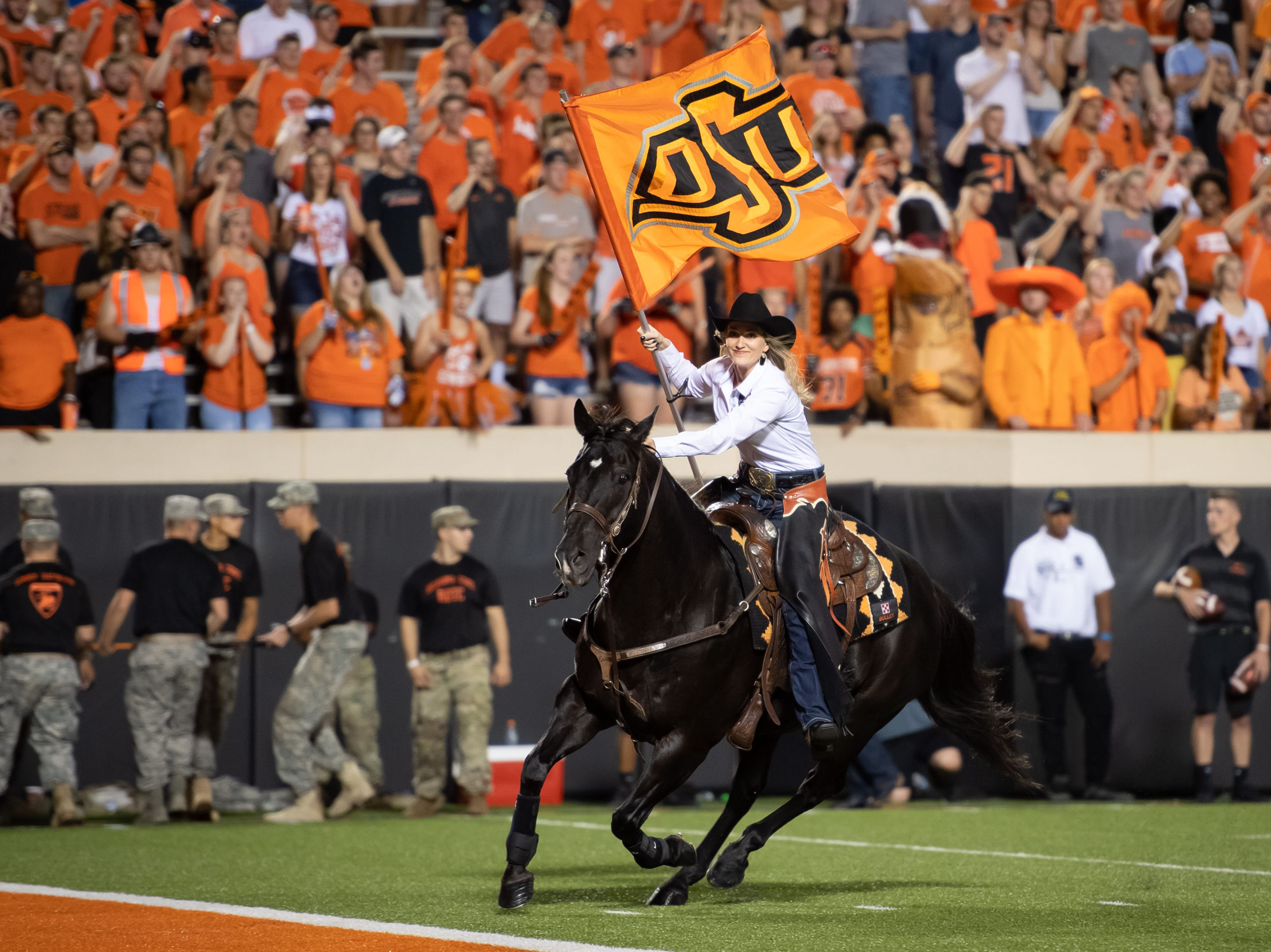 Week 1: Bullet rides after an Oklahoma State touchdown during the second half against the Missouri State Bears at Boone Pickens Stadium.