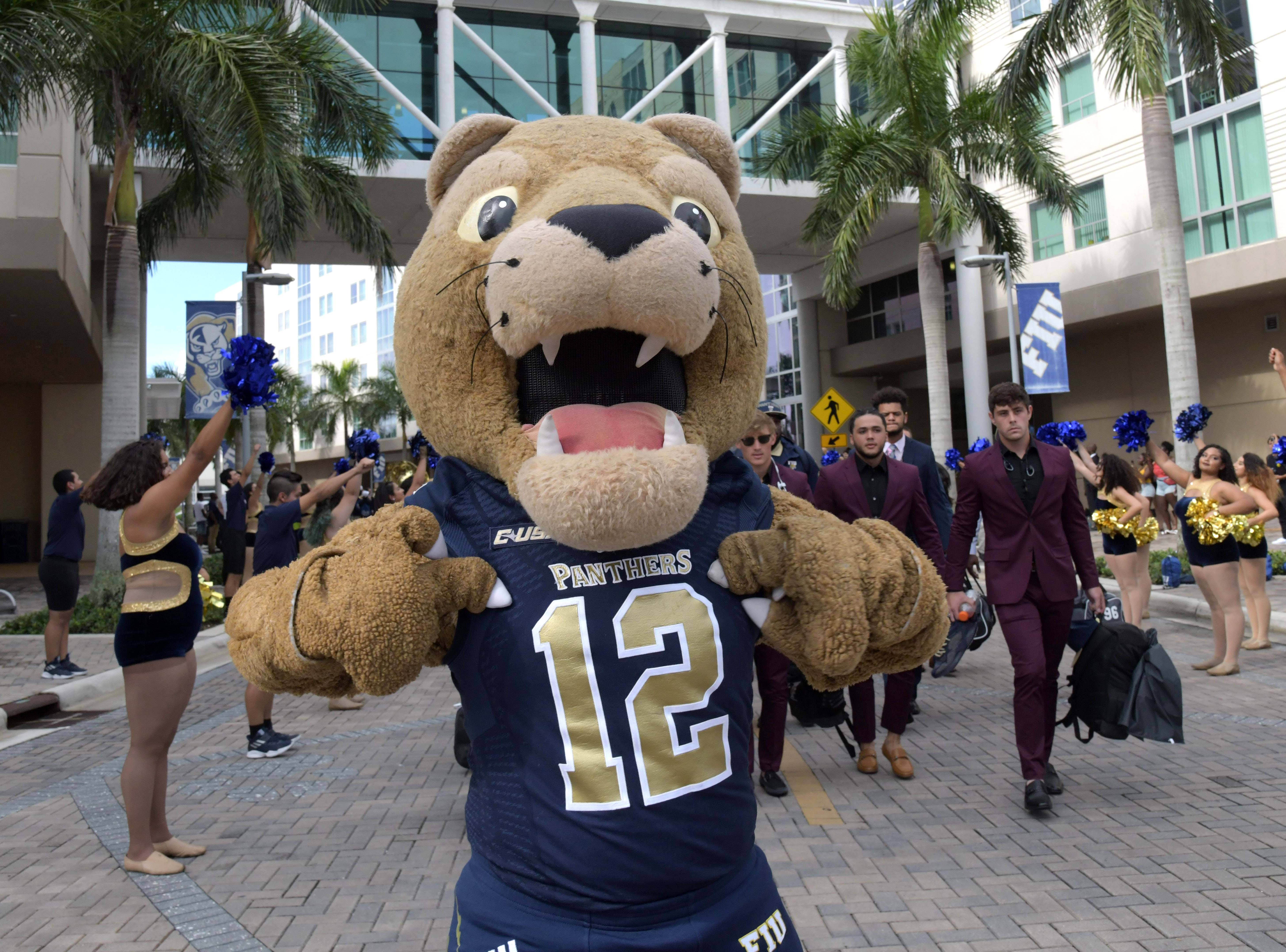 Week 1: FIU mascot Roary the Panther poses before the game against the Indiana Hoosiers at Riccardo Silva Stadium.