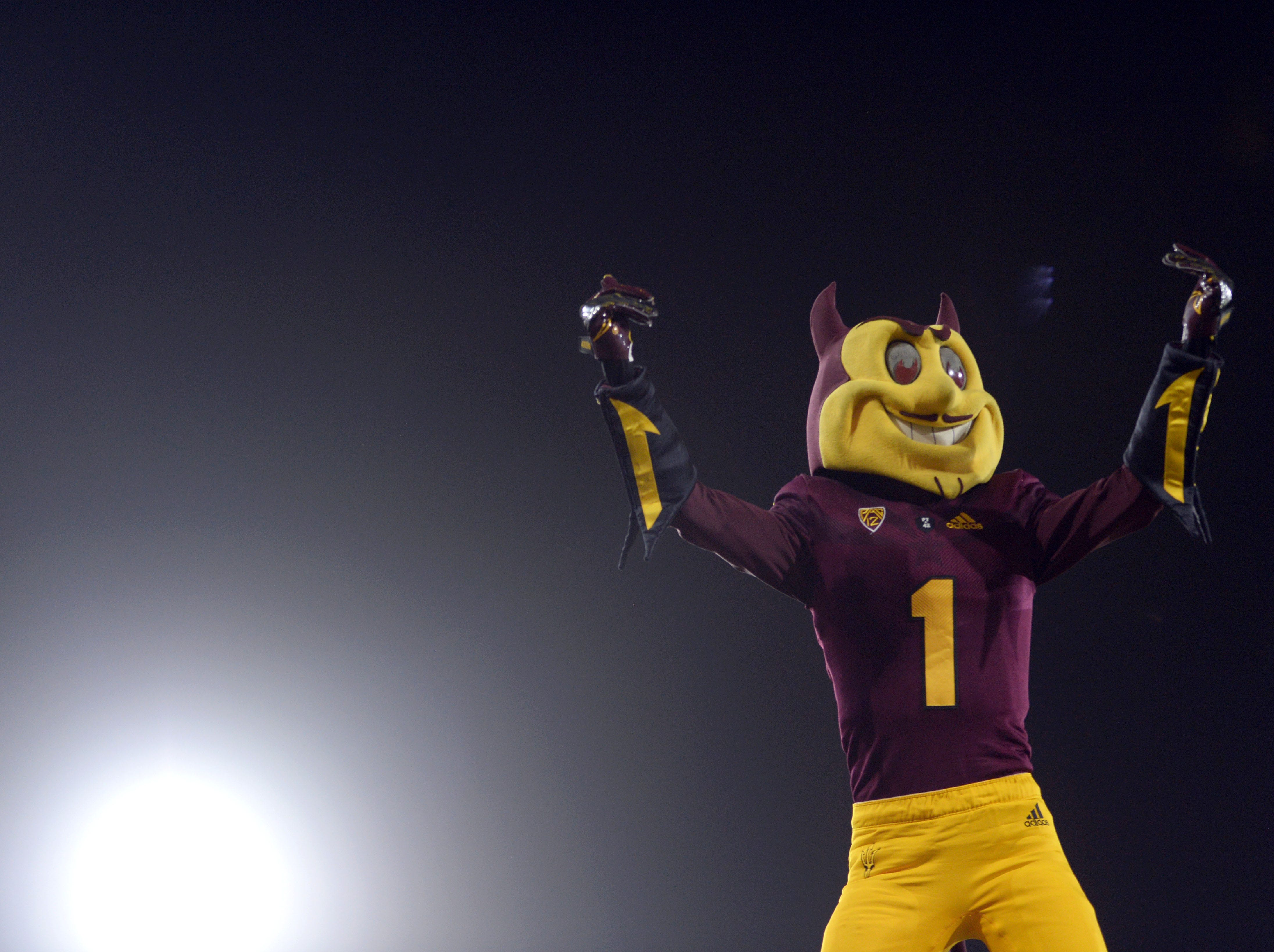 Week 1: Arizona State mascot Sparky celebrates during the first half against the UTSA Roadrunners at Sun Devil Stadium.