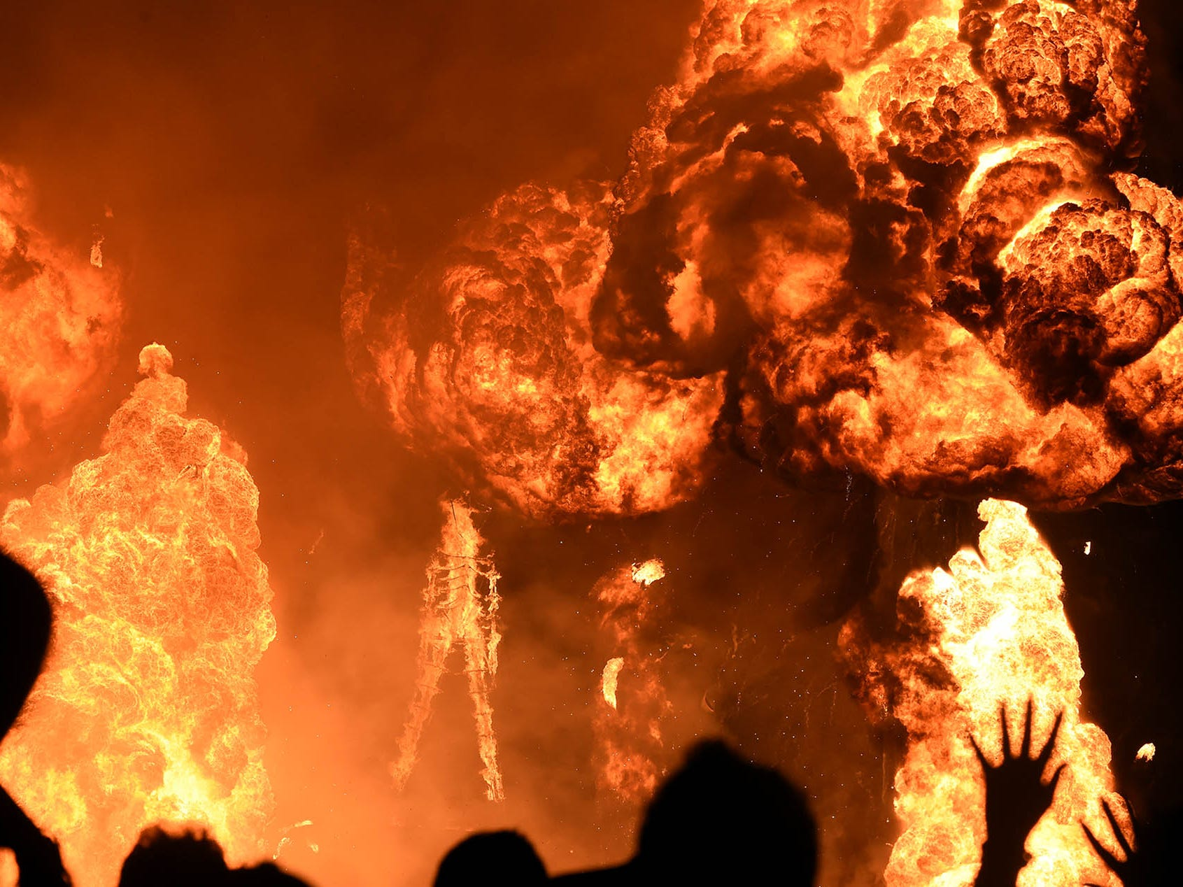 Thousands gathered to watch the effigy burn at Burning Man 2018.