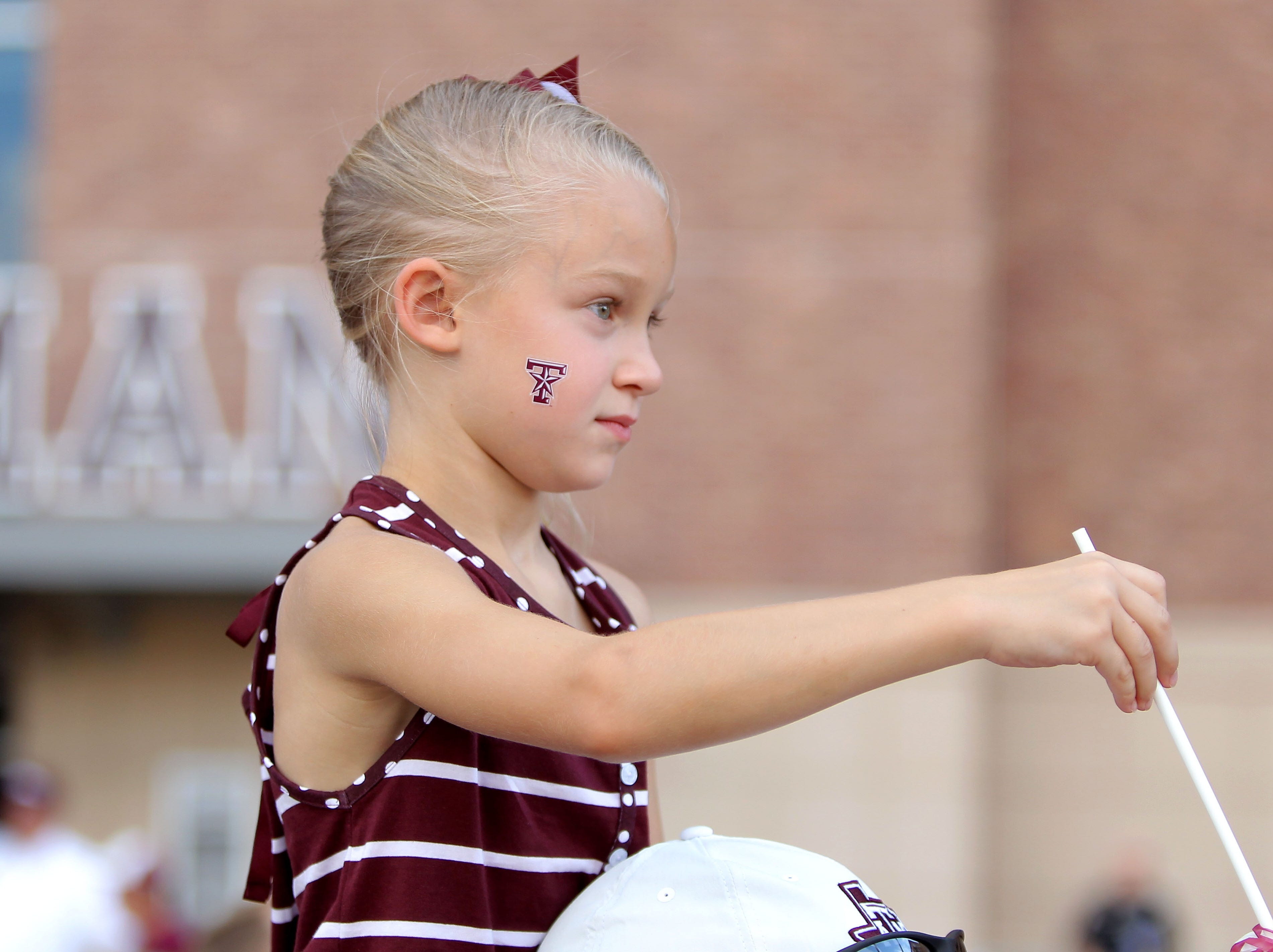 Week 1: A Texas A&M fan prior to the Aggies' game against Northwestern State.