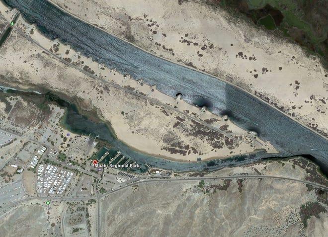 Google Maps image of Moabi Regional Park in San Bernardino County, Calif. along the Colorado River near the Arizona border.