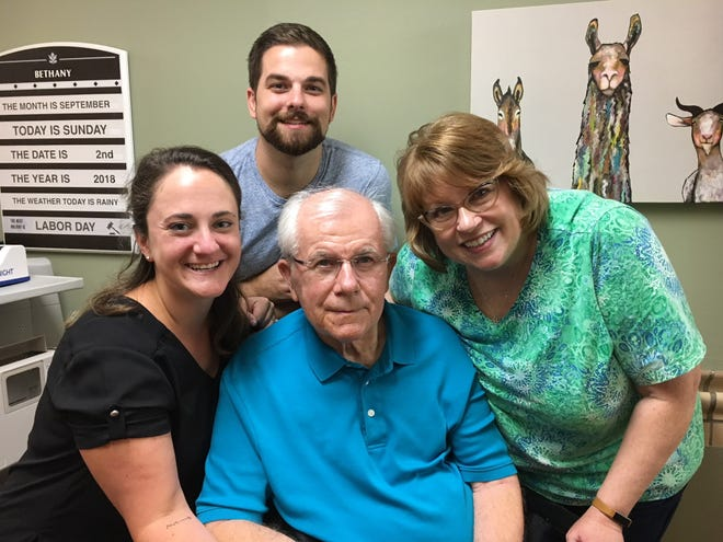 Rachel Adams and her husband, Colby Adams, of Maine spend time Sunday with DeLyle Spindt Henschel and his wife, Ann Spindt Henschel, at Bethany Homes in Waupaca. DeLyle Spindt Henschel donated bone marrow 25 years ago, saving Rachel's life.
