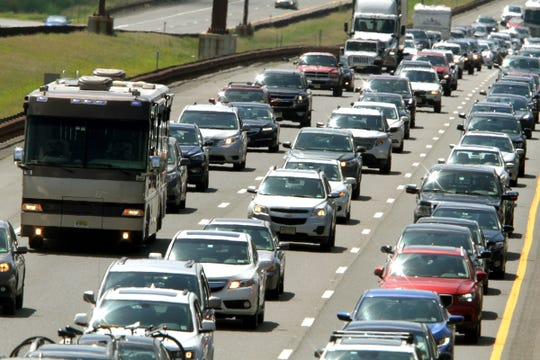 Traffic jams on the Garden State Parkway Northbound around milepost 90 in Lakewood shortly after noon Monday, September 3, 2018.