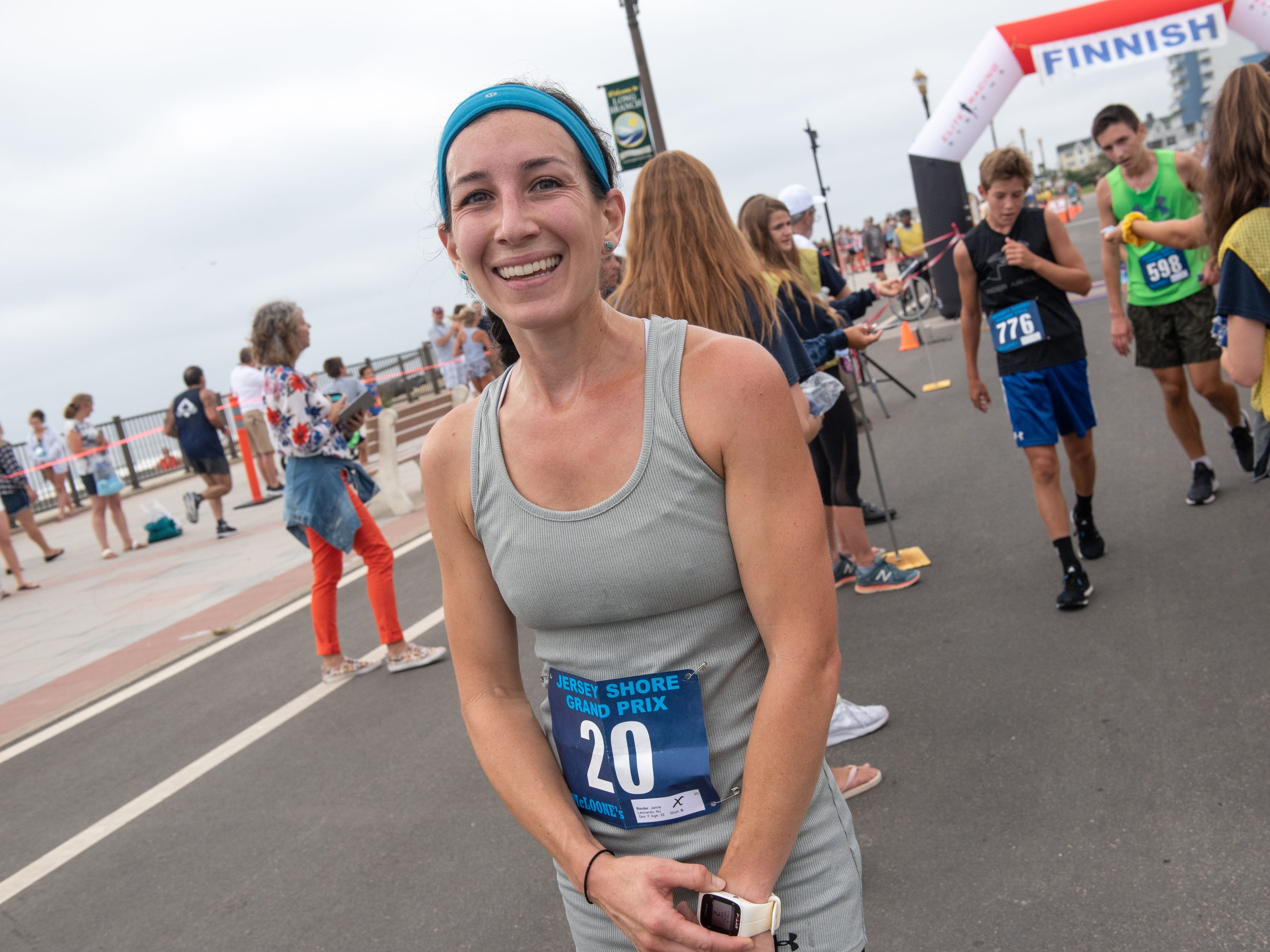 Women's winner Jamie Reuter, Leonardo, finished at 18:08.6. The Pier House 5K run was held along the ocean in the north end of Long Branch on Monday, September 3, 2018.  / Russ DeSantis for the Asbury Park Press