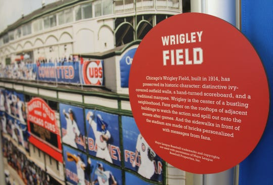 """Few sports arenas in America are as famous as Wrigley Field, still the home of the Chicago Cubs. It's part of the """"Hometown Teams"""" exhibit at the downtown Abilene Public Library."""