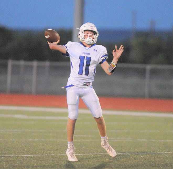 Stamford quarterback Peyton Bevel gets ready to release a pass in a scrimmage Aug. 24, 2018 against Jim Ned at Indian Stadium.