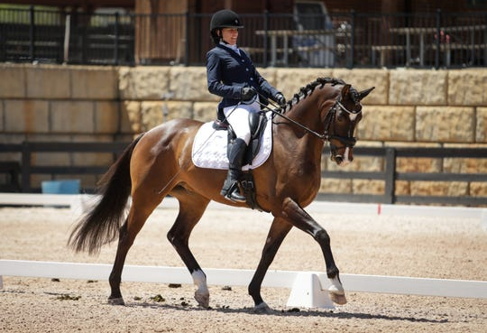 Rebecca Hart and El Corona Texel during the FEI World Equestrian Games CPEDI3* Dressage Test Event at the Tryon International Equestrian Center.