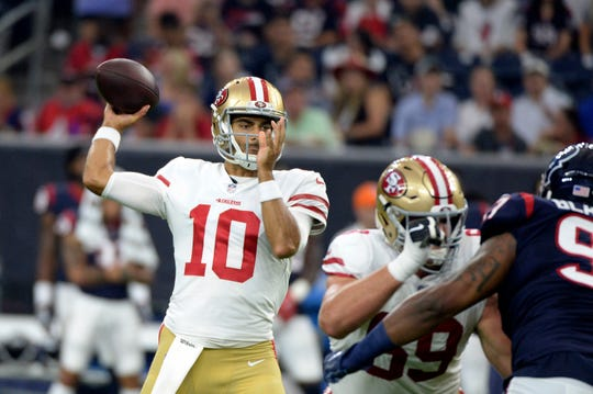 Jimmy Garoppolo won his first five starts last year with the 49ers.